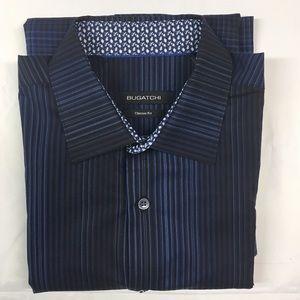 Bugatchi Medium Black & Blue Long Sleeve Shirt